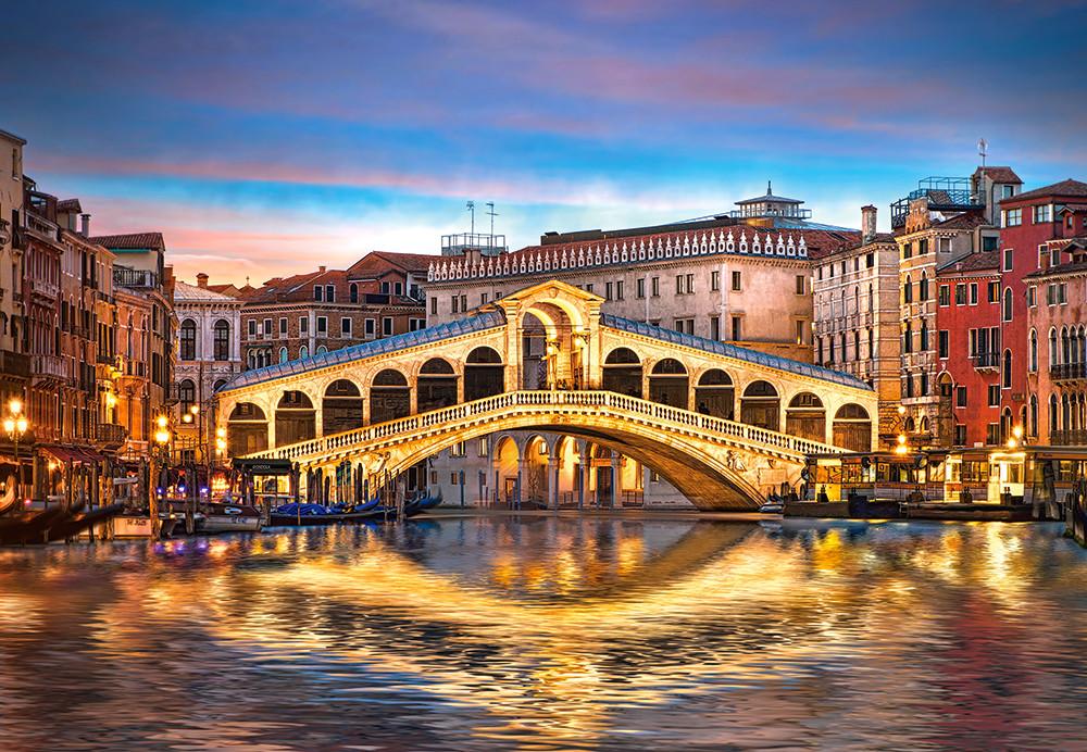 Пазлы Мост Риальто ночью, Венеция на 1000 элементов