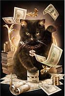 Алмазная вышивка (мозаика) Кот банкир 30х40 см