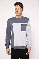 Свитшот мужской с контрастным карманом 102R004 цвет Серый