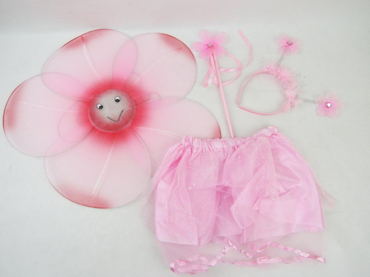 Набор цветочка: палочка, юбка, цветочек (диаметр 40см.), обруч (цвет микс) в п/э /80/