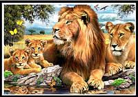 Алмазная вышивка (мозаика) Семья львов 30х40 см