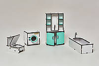 Мебель для кукольного домика Барби NestWood Ванная Мятная (kmb001m)