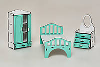 Мебель для кукольного домика Барби NestWood Спальня Мятная (kmb005m)