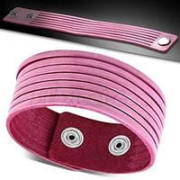 Жіночий шкіряний браслет ніжно-рожевого кольору на заклепках, фото 1