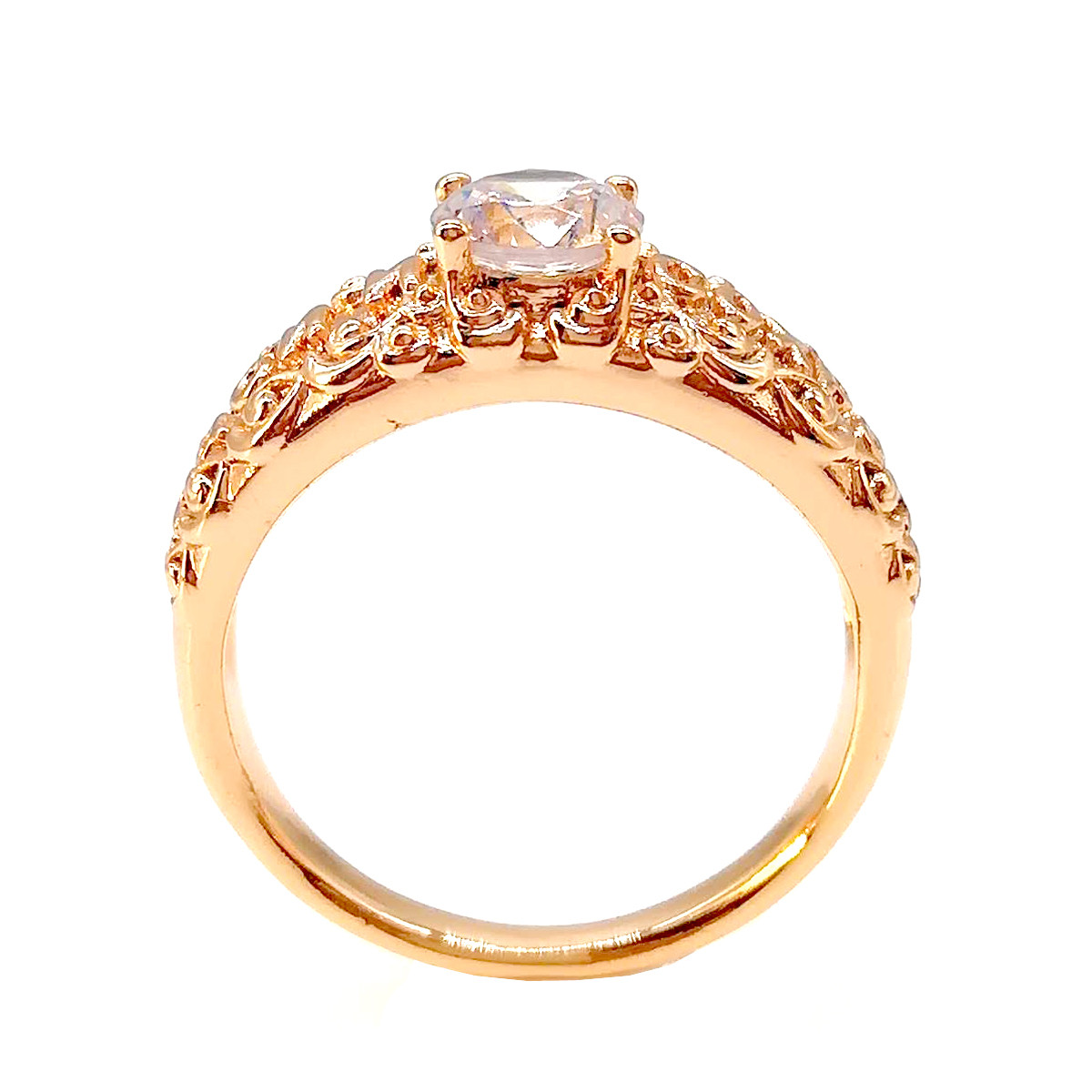 """Кольцо Xuping """"Спаси и сохрани"""" из медицинского золота, белые фианиты, позолота 18К, 11869       (17)"""