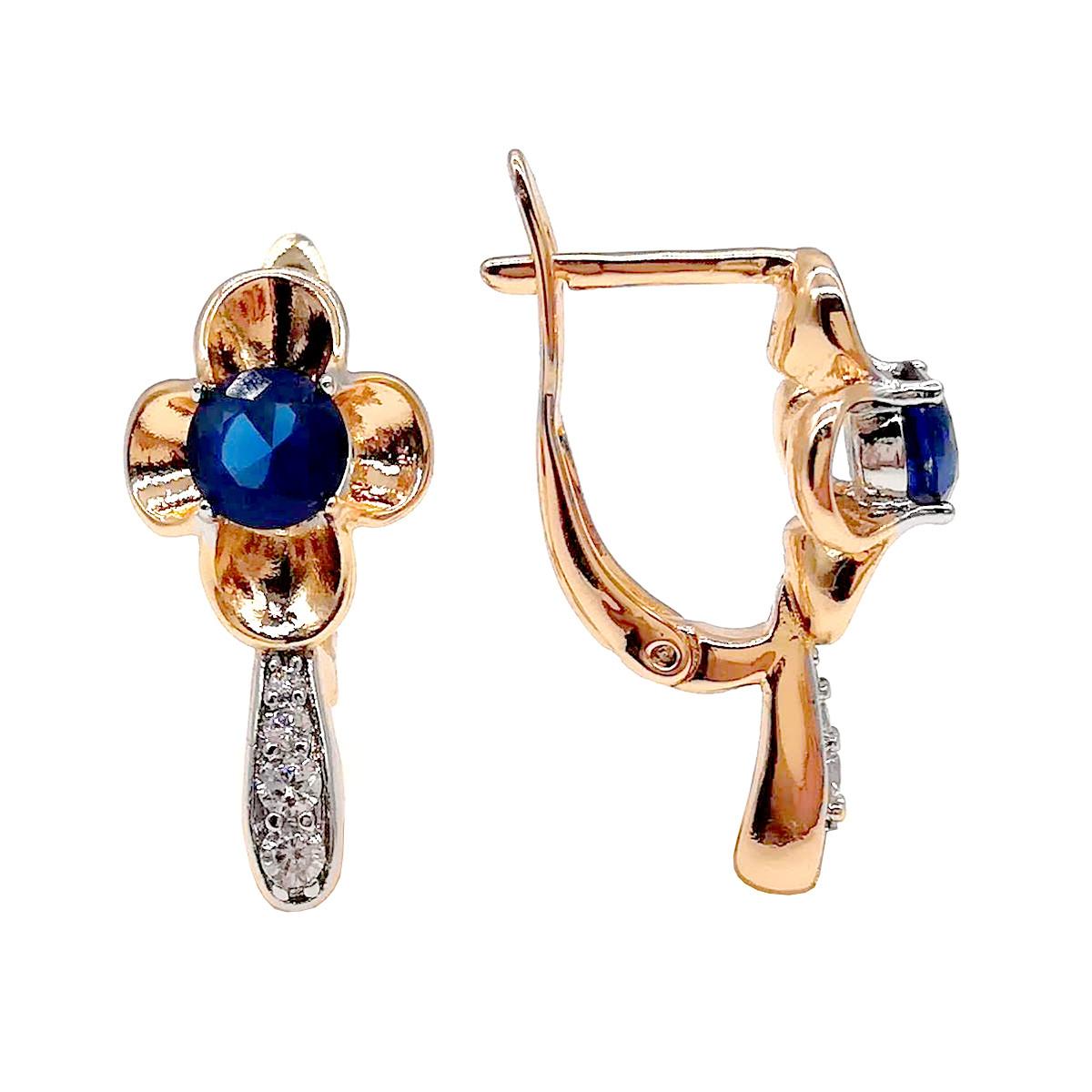 Серьги Xuping из медицинского золота, синие и белые фианиты, позолота 18К + родий, 23645       (1)
