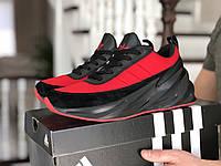 Кроссовки мужские Адидас 9186 красный с чёрным, фото 1
