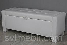 Банкетка Бостон с ящиком экокожа белый глянцевый ножки белые