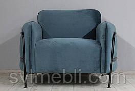 Кресло Бергамо велюр стальной синий, метал черный