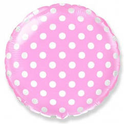 """Воздушный шар Круг розовый горох 18""""(45 см)"""