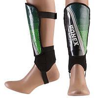 Щитки футбольні пластикові дорослі Ronex R-FLYEVA Довжина гомілки 22 см Зелений (RX-FLY/S)