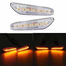 Пара Очистить Объектив 18 LED Боковые габаритные огни Сигнальные лампы указателей поворота Желтый Для BMW E82 E88 E60 E61 E90 E91 E92 E93 E93