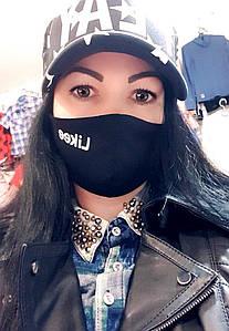 Женская маска-питта с накатом многоразовая черного цвета