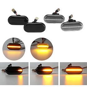 Динамический свет LED Боковые габаритные фонари Лампы повторителя Желтая пара для Nissan Opel Renault Smart-1TopShop