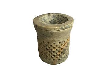 Аромалампа каменная круглая Pashan Kala 8,5х7х7,5 см (АРТ.527)