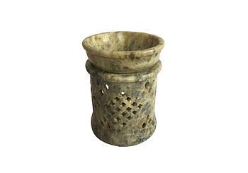 Аромалампа каменная круглая Pashan Kala 9х7х7.5 см Салатовый (АРТ.505)