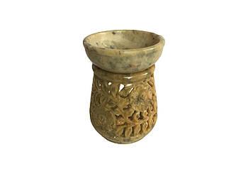 Аромалампа каменная круглая Pashan Kala 10х7.5х7.5 см Бежевый (АРТ.504)