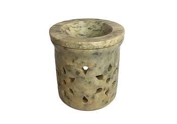 Аромалампа каменная круглая Pashan Kala 8х7х7.5 см Салатовый (АРТ.524)