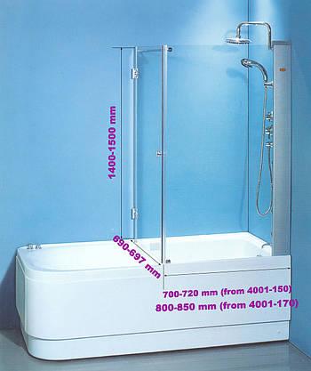Штора на ванну SunLight 7047/у стекло 70х70х140 см Прозрачный
