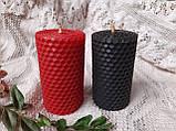 Набір свічок з кольорової вощини червоного та чорного кольору, фото 2