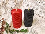 Набір свічок з кольорової вощини червоного та чорного кольору, фото 3