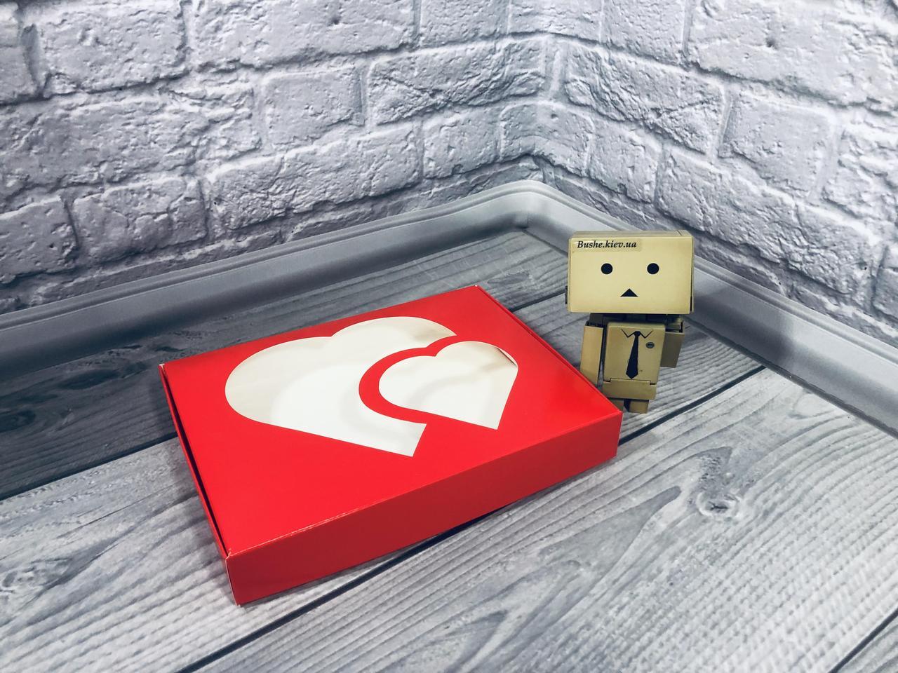 *10 шт* / Коробка для пряников / 150х200х30 мм / печать-Красн / окно-2 Сердца / лк