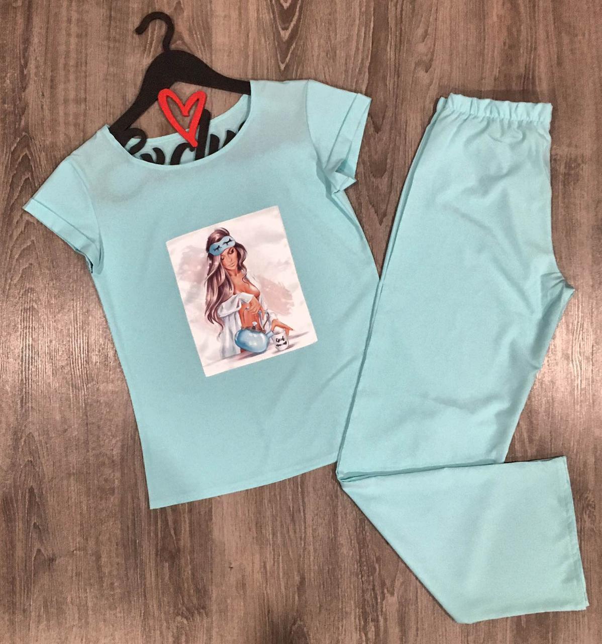 Дизайнерский пижамный комплект штаны+футболка 608-6.