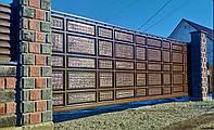 Филёнчатые сдвижные ворота с калиткой ш6000 в2250 (асимметричные филёнки с эффектом жатки)
