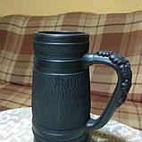Келих керамічний пивний чорнодимлений ручної роботи, фото 5