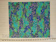 Отрез сатина Цветущая сакура на синем  -  35*40 см