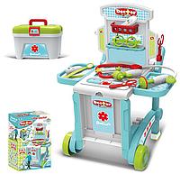 """Набор доктора для детей """"3 в 1"""" модель 008-929,с чемоданом,тележкой, в коробке набор медицинских инструментов."""