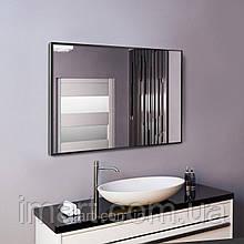 Черное зеркало в алюминиевой раме для ванной