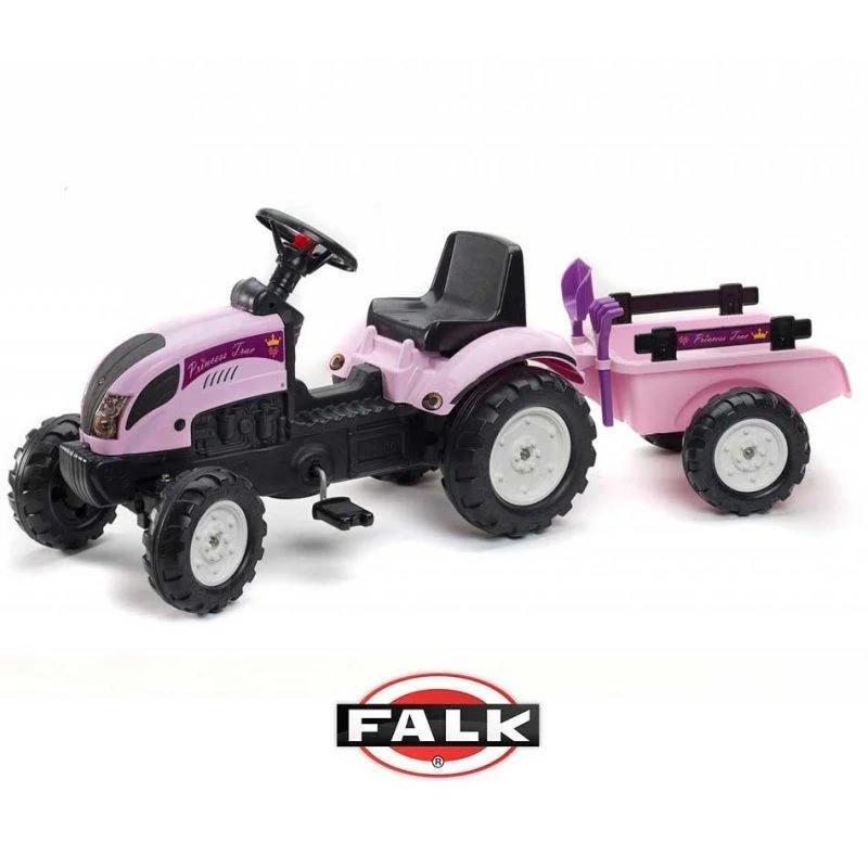 Детский педальный трактор с прицепом Princess Falk 2056C (дитячий педальний трактор з причепом)