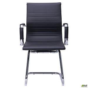 Офисное кресла AMF Slim-CF XH-632C черное на металлических полозьях хром с подлокотниками