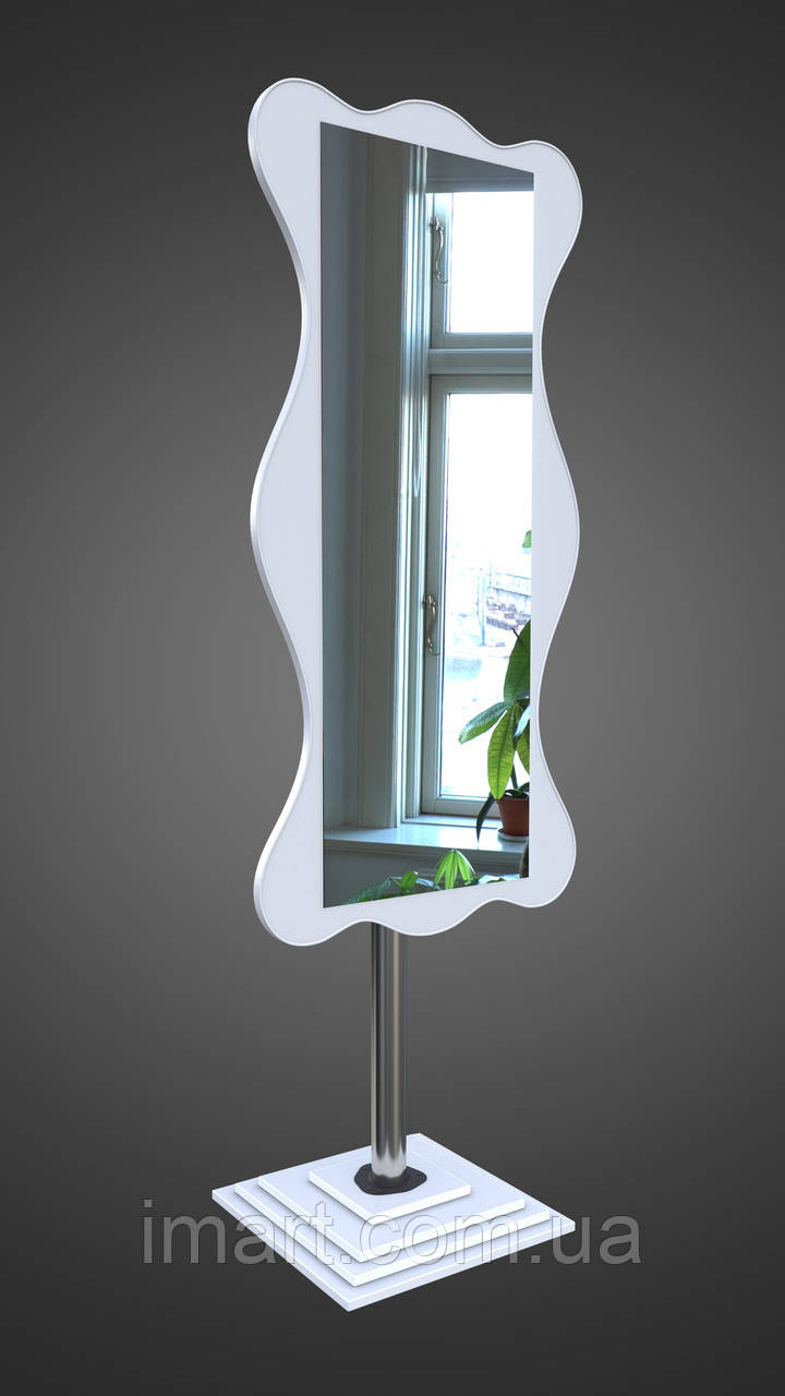 Зеркало напольное, белое фигурное