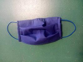 Маска синяя пятислойная с внутренним шаром марли многоразовая на резинке