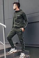Спортивный костюм мужской с капюшоном цвета хаки