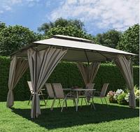 Шатер садовый 3м х 4м с плотной и долговечной ткани полиэстер, стальной каркас со шторками