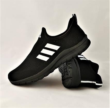 Кросівки Adidas Сіточка Чоловічі Чорні Літні Адідас Мокасини (розміри: 42,43,44) Відео Огляд, фото 2