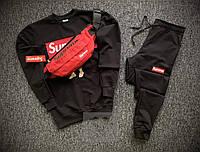 Мужской спортивный костюм Supreme тройка черного цвета с красной бананкой