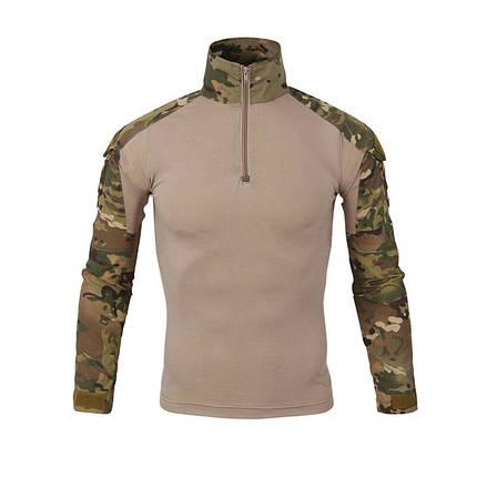 Тактическая рубашка Lesko A655 Camouflage L (34 р) мужская милитари с длинным рукавом камуфляж убокс армейская, фото 2