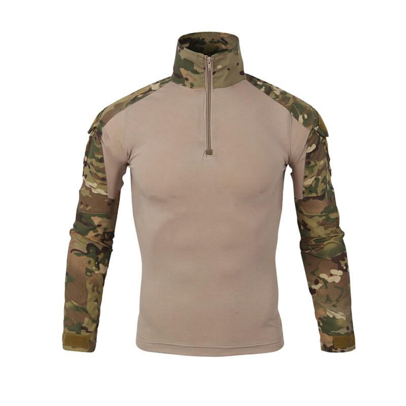 Тактическая рубашка Lesko A655 Camouflage 3XL (40 р.) мужская милитари с длинным рукавом камуфляж армейская