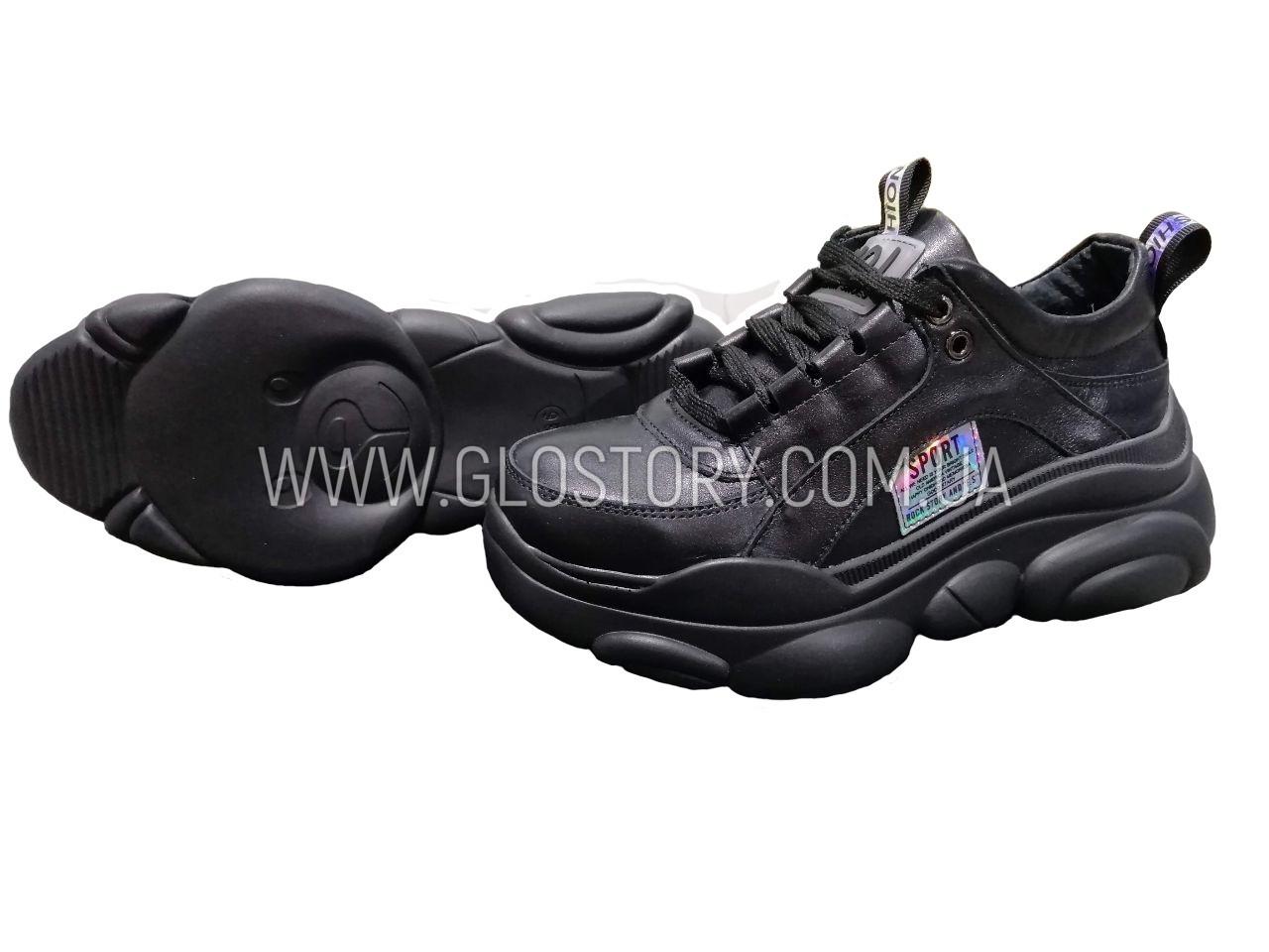 Жіночі чорні шкіряні кросівки ведмедики