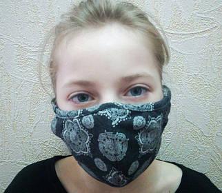 Двухслойная защитная цветная маска для подростков