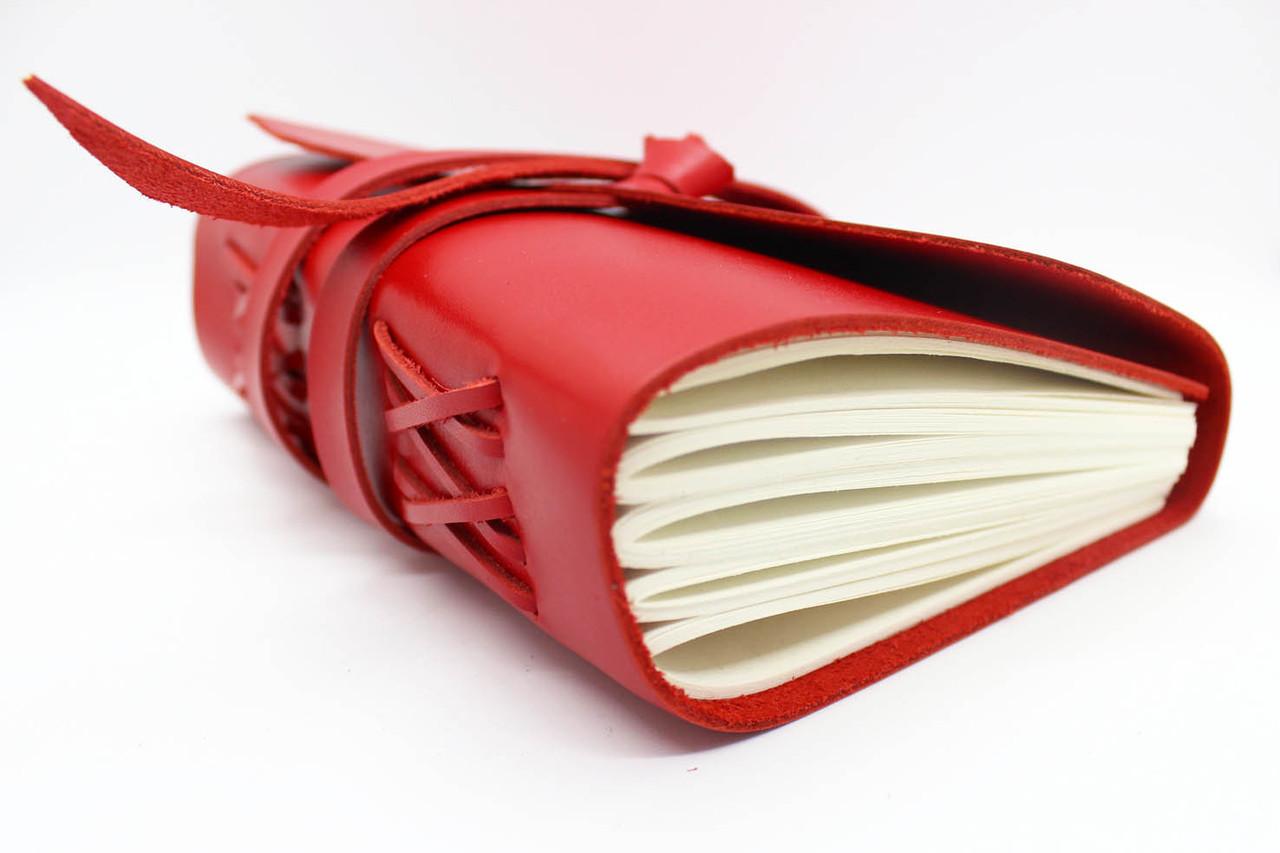 Кожаный блокнот ежедневник Красный 17.6*13.5 см