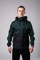 Ветровка курточка мужская весенняя/осенняя, цвет зелено-черный