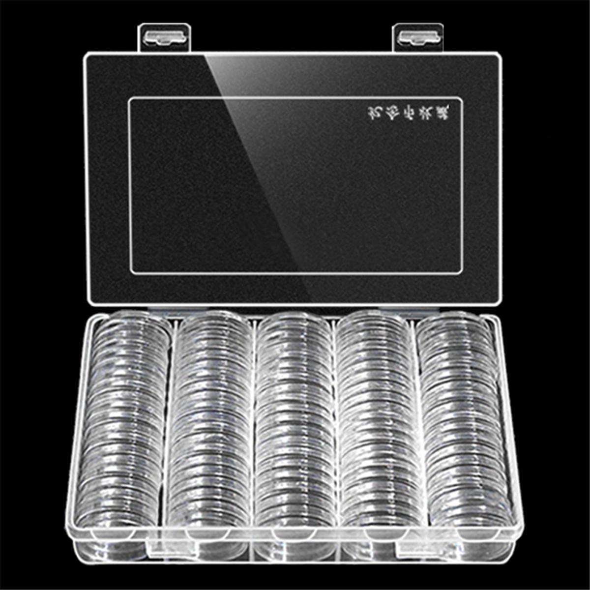 Монеты держателя хранения Коробка Держите 100Pcs 30мм круглые монеты Коробкаes Пластиковые протектор -1TopShop