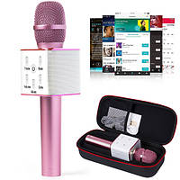 Bluetooth микрофон для караоке Q7 Блютуз микро + ЧЕХОЛ РОЗОВЫЙ