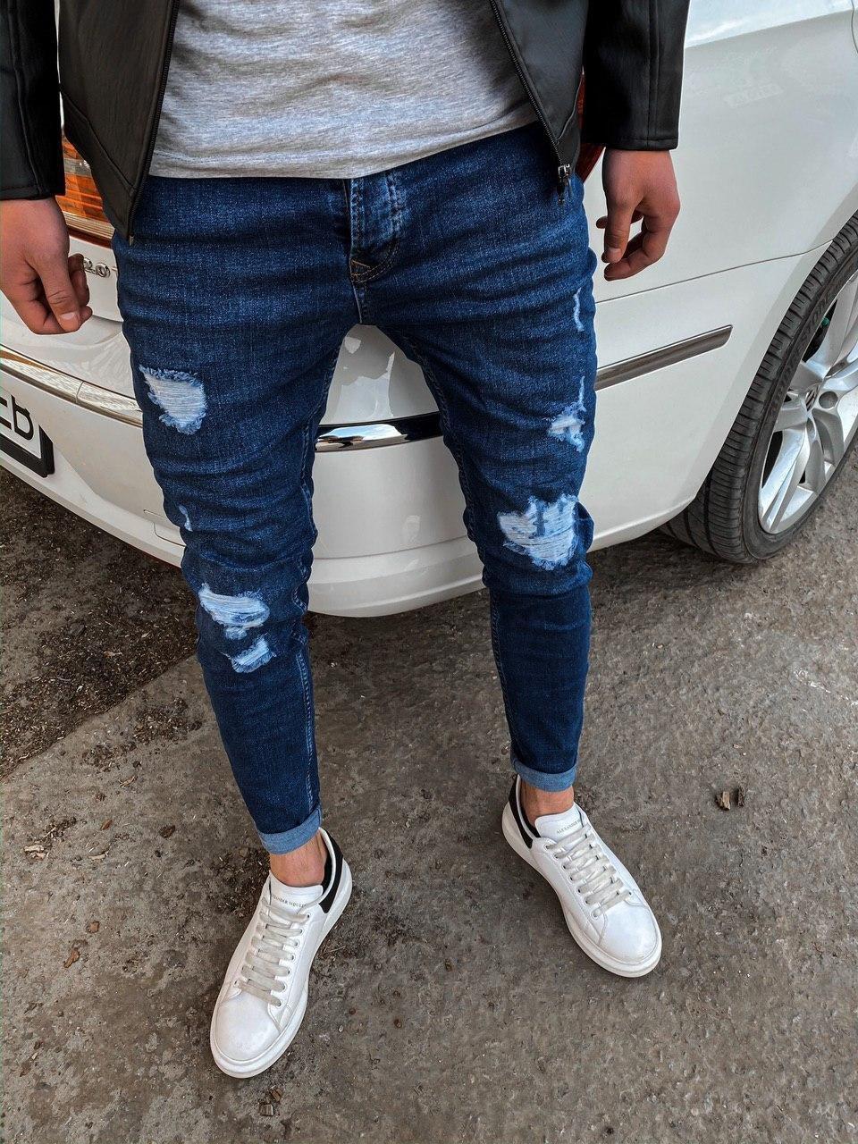 😜 Джинси Стильні сині джинси з рваними колінами