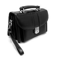 Барсетка шкіряне des-1062-1 сумка чорна чоловіча класична Desisan, фото 1